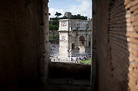 The Arch of Constantine is seen on Wednesday, Sept. 23, 2015, in Rome, Italy. (Photo by James Brosher)