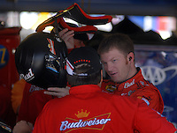 Apr 28, 2006; Talladega, AL, USA; Nascar Nextel Cup driver Dale Earnhardt Jr. of the (8) Budweiser Chevrolet Monte Carlo talks to crew chief Tony Eury Jr. as he prepares to practice for the Aarons 499 at Talladega Superspeedway. Mandatory Credit: Mark J. Rebilas-US PRESSWIRE Copyright © 2006 Mark J. Rebilas..