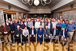 Joe Moriarty (3rd from left seated) and John O'Callaghan (Seated centre) surrounded by their family and friends at their retirement party in the Ballygarry Hotel on Friday last