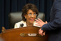 United States Representative Maxine Waters (Democrat of California) chairs the hearing before the US House Financial Services Committee where US Secretary of the Treasury Steven Mnuchin will testify in response to House Democrats' request to release President Trump's tax returns on April 9, 2019 on Capitol Hill.<br /> Credit: Stefani Reynolds / CNP/AdMedia