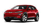 Stock pictures of low aggressive front three quarter view of 2019 Hyundai Kona-EV Ultimate 5 Door SUV Low Aggressive