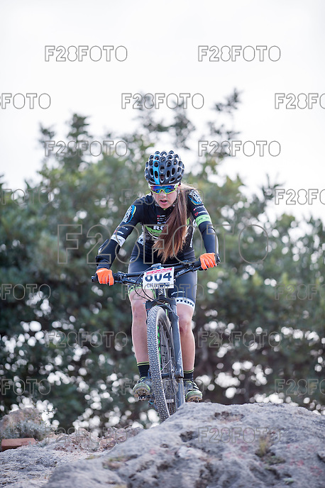 Chelva, SPAIN - MARCH 6: Carolina Arauz during Spanish Open BTT XCO on March 6, 2016 in Chelva, Spain