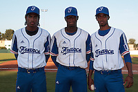 21 August 2010: David Van Heyningen, Jean Antonio Samer, Luis de la Rosa, pose prior to Russia 13-1 win in 7 innings over France, at the 2010 European Championship, under 21, in Brno, Czech Republic.
