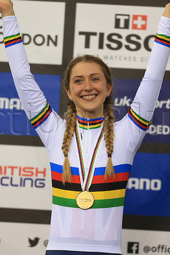 04.03.2016. Lee Valley Velo Centre, London England. UCI Track Cycling World Championships. Woomens scratch final.  TROTT Laura (GBR) wins gold on the podium