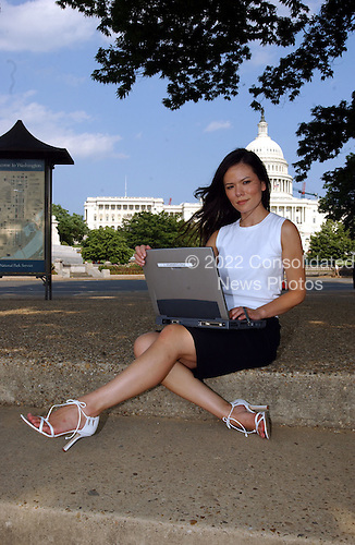 "Washington, DC - May 24, 2004 -- Jessica Cutler, 24, former United States Senate Staff Assistant in United States Senator Mike DeWine's (Republican of Ohio) office, who authored a ""blog"" (short for Weblog)  called the ""Washingtonienne"" while at work.  The Internet diary, which graphically recorded what she claims were steamy sexploits with powerful Washington, D.C. lawyers and senior Bush administration officials, has created a lot of interest in the Capital.  DeWine, a conservative Republican Senator, subsequently fired Cutler from her 25,000.00 dollar-a-year job of sorting mail. The blog began earlier this spring when Cutler sought to keep friends updated on her busy social life. These included descriptions of rich older men giving her money for sexual favors. She hasn't identified the men she says she had sex with.  Cutler has offered no proof that she was not writing fiction..Credit: Ron Sachs / CNP"