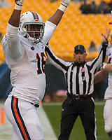Virginia tight end Richard Burney celebrates his touchdown.The Pitt Panthers defeated the Virginia Cavaliers 31-14 at Heinz Field, Pittsburgh, PA on October 28, 2017.
