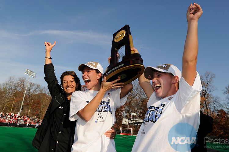 21 NOV 2010:  (left to right) Coach Missy Meharg, Alicia Morawski and Katie O'Donnell of the University of Maryland celebrate their victory over the University of North Carolina during the 2010 NCAA Women's Division I Field Hockey Championship held on the campus of the University of Maryland in College Park, MD. Maryland defeated North Carolina 3-2 in double overtime to win the national title. Brett Wilhelm/NCAA Photos