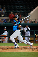 Tampa Tarpons right fielder Isiah Gilliam (24) at bat during a Florida State League game against the Lakeland Flying Tigers on April 5, 2019 at Publix Field at Joker Marchant Stadium in Lakeland, Florida.  Lakeland defeated Tampa 5-3.  (Mike Janes/Four Seam Images)