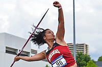 Amethyst Boyd of Arkansas competes in first round of javelin during West Preliminary Track & Field Championships at John McDonnell Field, Thursday, May 29, 2014 in Fayetteville, Ark. (Mo Khursheed/TFV Media via AP Images)