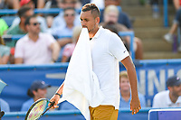 Washington, DC - August 4, 2019: Nick Kyrgios (AUS) chews on his towel between rounds of Men's finals of the Citi Open at the Rock Creek Tennis Center, in Washington D.C. (Photo by Philip Peters/Media Images International)