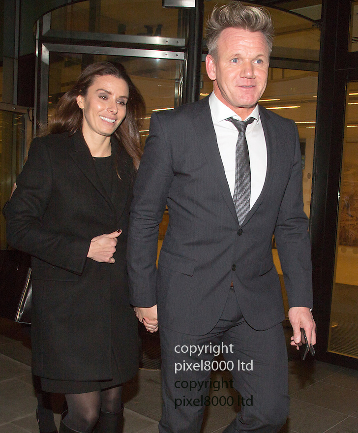 Pic shows: Gordon and Tana Ramsay <br /> <br /> <br /> TV chef Gordon leaves high court on London tonight 28.11.14<br /> <br /> He gave evidence in a case versus Gary Love - film director over a lease and forged signature.<br /> <br /> <br /> <br /> <br /> Pic by Gavin Rodgers/Pixel 8000 Ltd