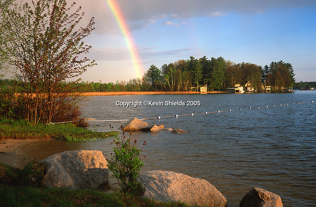 Rainbow over Sebago Lake, Raymond, Maine, USA