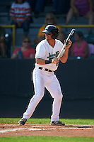 Clinton LumberKings outfielder Austin Cousino (26) squares to bunt during a game against the Great Lakes Loons on August 16, 2015 at Ashford University Field in Clinton, Iowa.  Great Lakes defeated Clinton 3-2.  (Mike Janes/Four Seam Images)