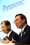 March 31, 2016, Tokyo, Japan - Japan's electronics giant Panasonic president Kazuhiro Tsuga (R), accompanied by CFO Hideaki Kawai speaks about company's new business strategy before press at Panasonic's office in Tokyo on Thursday, March 31, 2016. (Photo by Yoshio Tsunoda/AFLO) LWX -ytd-