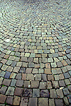 Cobblestone sidewalk in Cologne, Germany.