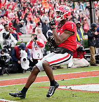 ATHENS, GA - NOVEMBER 23: George Pickens #1 of the Georgia Bulldogs after a touchdown catch during a game between Texas A