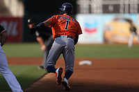 OAKLAND, CA - SEPTEMBER 9:  Carlos Correa #1 of the Houston Astros runs to second base against the Oakland Athletics during game 2 of a doubleheader at the Oakland Coliseum on Saturday, September 9, 2017 in Oakland, California. (Photo by Brad Mangin)