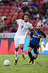 Bayern Munich Midfielder Corentin Tolisso (L) in action during the International Champions Cup match between FC Bayern and FC Internazionale at National Stadium on July 27, 2017 in Singapore. Photo by Weixiang Lim / Power Sport Images
