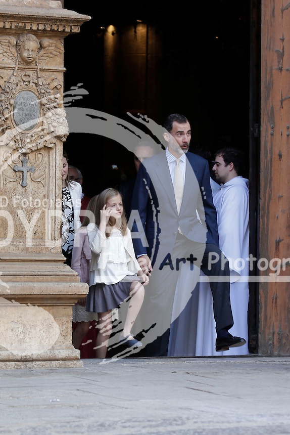 KIng Felipe VI and Princess of Asturias Leonor Leaves the Cathedral after mass