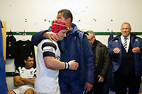 Harry Thacker of Bristol Bears hugs Head Coach Pat Lam in the changing rooms after the match. Gallagher Premiership match, between Leicester Tigers and Bristol Bears on April 27, 2019 at Welford Road in Leicester, England. Photo by: Patrick Khachfe / JMP