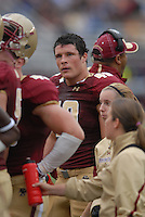 Boston College Eagles linebacker Luke Kuechly (#40) takes a breather during a game versus the Wake Forest Demon Deacons at Alumni Stadium in Chestnut Hill, Massachusetts on October 1, 2011.Wake Forest would defeat the Eagles 27-19.Photo By Ken Babbitt/Four Seam Images