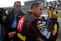 Feb 11, 2007; Daytona, FL, USA; Nascar Nextel Cup driver Juan Pablo Montoya (42) with co owner Felix Sabates during qualifying for the Daytona 500 at Daytona International Speedway. Mandatory Credit: Mark J. Rebilas