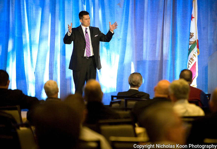 Retired Navy Seal Clark Stuart speaking at the California Alarm Association convention in San Francisco on 12/9/11.