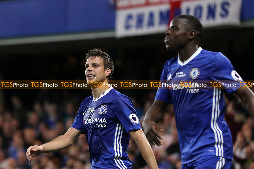 Cesar Azpilicueta celebrates scoring Chelsea's second goal during Chelsea vs Watford, Premier League Football at Stamford Bridge on 15th May 2017