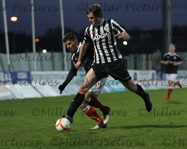 Jason Naismith wins the ball at the Falkirk v St Mirren  Scottish Football Association Youth Cup 4th Round match played at the Falkirk Stadium, Falkirk on 16.12.12. .