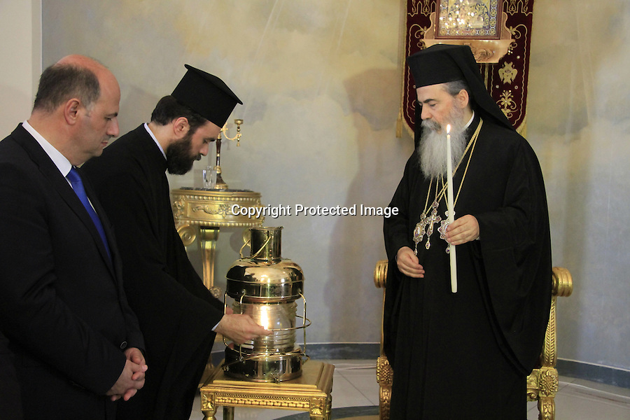 Easter, the Greek Orthodox Patriarch of Jerusalem Theophilus III with the Greek Deputy Foreign Minister Kostas Tsiaras at the Greek Orthodox Patriarchate, following the ceremony of the Holy Light on Holy Saturday