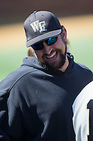 Wake Forest Demon Deacons alumnus Jamie D'Antona during the game against the Virginia Tech Hokies at Wake Forest Baseball Park on March 7, 2015 in Winston-Salem, North Carolina.  The Hokies defeated the Demon Deacons 12-7 in game one of a double-header.   (Brian Westerholt/Four Seam Images)