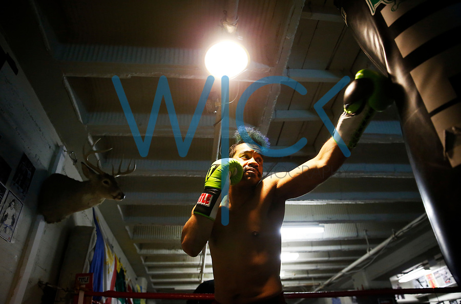 Jarrell 'The Samurai' Brackett works out at Conn-Greb Boxing Club in the Oakland neighborhood of Pittsburgh, Pennsylvania on Wednesday April 25, 2018. (Photo by Jared Wickerham/Wick Photography)