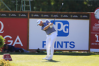 Stephen Gallacher (SCO) tees off the 18th tee during Saturday's Round 3 of the 2018 Omega European Masters, held at the Golf Club Crans-Sur-Sierre, Crans Montana, Switzerland. 8th September 2018.<br /> Picture: Eoin Clarke | Golffile<br /> <br /> <br /> All photos usage must carry mandatory copyright credit (&copy; Golffile | Eoin Clarke)