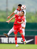 Sadi Jalali (9) of Canada goes up for a header with Bryan Santamaria (17) of Panama during the semifinals of the CONCACAF Men's Under 17 Championship at Catherine Hall Stadium in Montego Bay, Jamaica. Canada defeated Panama, 1-0.