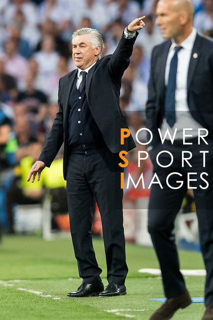 Manager Carlo Ancelotti of FC Bayern Munich reacts during their 2016-17 UEFA Champions League Quarter-finals second leg match between Real Madrid and FC Bayern Munich at the Estadio Santiago Bernabeu on 18 April 2017 in Madrid, Spain. Photo by Diego Gonzalez Souto / Power Sport Images