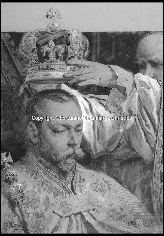BNPS.co.uk (01202 558833)<br /> Pic: TerenceCuneo/Christies/BNPS<br /> <br /> ***Use Full Byline***<br /> <br /> George V being crowned on June 22, 1911 by Archbihop of Canterbury. Drawn by Fortunino Matania R.I.<br /> <br /> Original art work chronicling major historical moments in British history that was for the world's first illustrated magazine is being sold at auction.<br /> <br /> The colourful drawings were for the front pages of The Illustrated London News and depict key events in the 20th century including the Royal wedding of Queen Elizabeth II and Phillip Mountbatten.<br /> <br /> Other moments in history illustrated include the coverage of both world wars and the Festival of Britain.<br /> <br /> The work is being sold by auctioneers Christie's in October