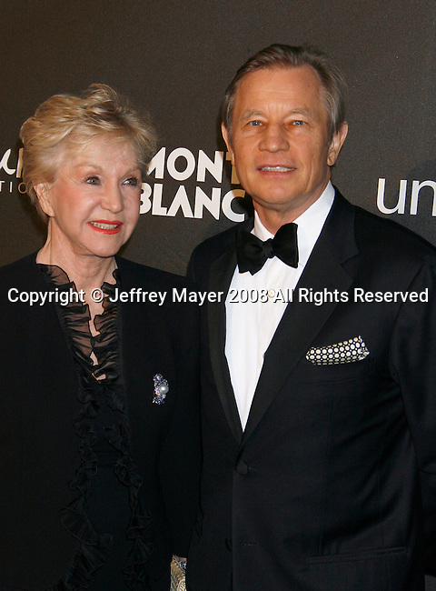 "LOS ANGELES, CA. - February 20: Actor Michael York and wife Patricia York arrive at Montblanc ""Signature for Good"" Charity Gala at Paramount Studios on February 20, 2009 in Los Angeles, California."
