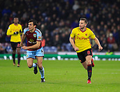 9th December 2017, Turf Moor, Burnley, England; EPL Premier League football, Burnley versus Watford; Tom Cleverley of Watford and Jack Cork of Burnley chase the ball