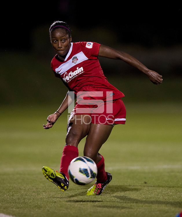 Robin Gayle (15) of the Washington Spirit passes the ball forward during a game at the Maryland SoccerPlex in Boyds, MD.