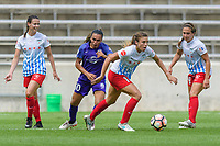 Bridgeview, IL - Saturday July 22, 2017: Taylor Comeau, Marta Vieira Da Silva, Sofia Huerta, Danielle Colaprico during a regular season National Women's Soccer League (NWSL) match between the Chicago Red Stars and the Orlando Pride at Toyota Park. The Red Stars won 2-1.