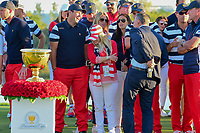 Patrick Reed (USA) shares a laugh before the trophy presentation following round 4 Singles of the 2017 President's Cup, Liberty National Golf Club, Jersey City, New Jersey, USA. 10/1/2017. <br /> Picture: Golffile | Ken Murray<br /> <br /> All photo usage must carry mandatory copyright credit (&copy; Golffile | Ken Murray)