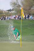 February 2nd 2019, Scottsdale, Arizona, USA; Charley Hoffman hits out of the sand trap on the ninth hole during the third round of the Waste Management Phoenix Open on February 02, 2019, at TPC Scottsdale in Scottsdale, AZ.