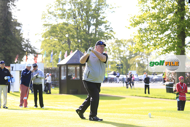 Miguel Angel Jimenez (ESP) team in action during Wednesday's Pro-Am of the 2016 Dubai Duty Free Irish Open hosted by Rory Foundation held at the K Club, Straffan, Co.Kildare, Ireland. 18th May 2016.<br />