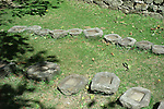 Stone plates in the Shakti Temple precinct north of Vashisht in the Upper Beas Valley, Himachal Pradesh, India.