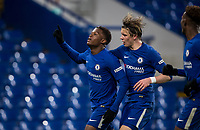 Daishawn Redan celebrates his first goal with Conor Gallagher of Chelsea U18 during the FA Youth Cup FINAL 1st leg match between Chelsea U18 and Arsenal U18 at Stamford Bridge, London, England on 27 April 2018. Photo by Andy Rowland.