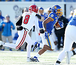 BROOKINGS, SD - NOVEMBER 17: Marshon Harris #18 from South Dakota State University returns an interception past Trystn Ducker #8 from the University of South Dakota during their game Saturday afternoon at Dana J. Dykhouse Stadium in Brookings, SD. (Photo by Dave Eggen/Inertia)