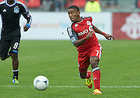 24 March 2012: Toronto FC forward Joao Plata #7 in action during a game between the San Jose Earthquakes and Toronto FC at BMO Field in Toronto..The San Jose Earthquakes won 3-0..