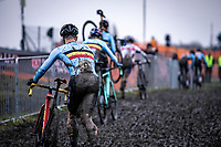The Belgian riders chasing. <br /> <br /> Men's Elite race<br /> UCI 2020 Cyclocross World Championships<br /> Dübendorf / Switzerland<br /> <br /> ©kramon