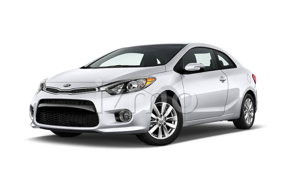 Stock pictures of low aggressive front three quarter view of 2016 KIA Forte-Koup EX 2 Door Coupe Low Aggressive