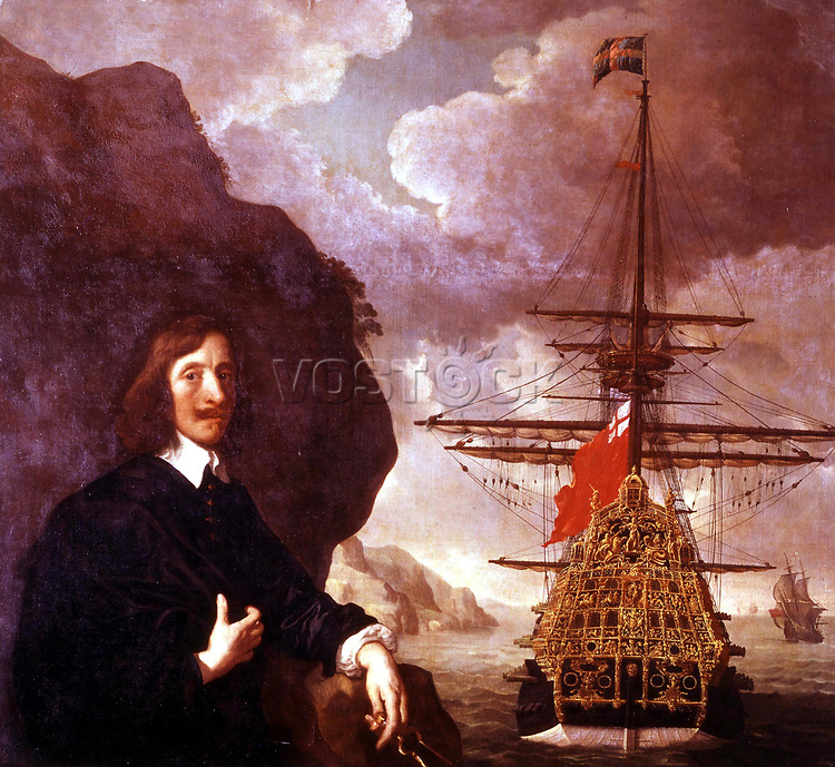Peter Pett and the 'Sovereign of the Seas' circa 1645-50, by <br /> Sir Peter Lely (1618-80). <br />     Peter Pett holds a pair of dividers, alluding to his status as one of a famous family of ship designers and builders. Peter Pett was responsible for building Charles I's great ship, Sovereign of the Seas. Built at Woolwich in 1637 to the designs of his father, Phineas Pett, she was believed to be the most powerful ship of her day and was the prototype for all 100-gun English first-rates which followed, though the exact number of her guns (100 or more in her original form) remains uncertain.<br /> <br />  *** Local Caption *** 5064